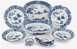 Chinese export blue white partial dinner service