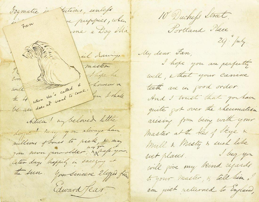 LEAR, EDWARD, 3 hand written letters,
