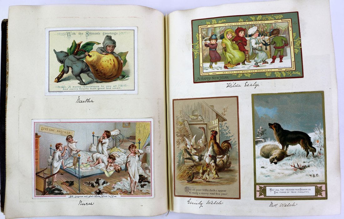 VICTORIAN POSTCARD ALBUM, Childrens Theme Cards