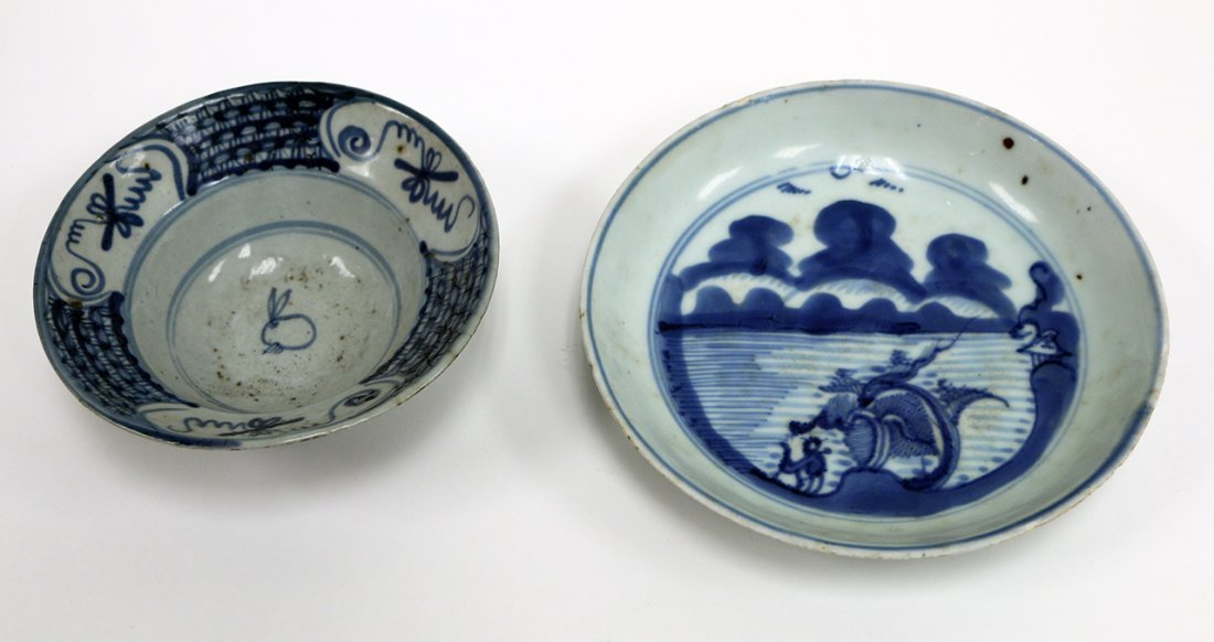 A Japanese blue and white bowl and a dish
