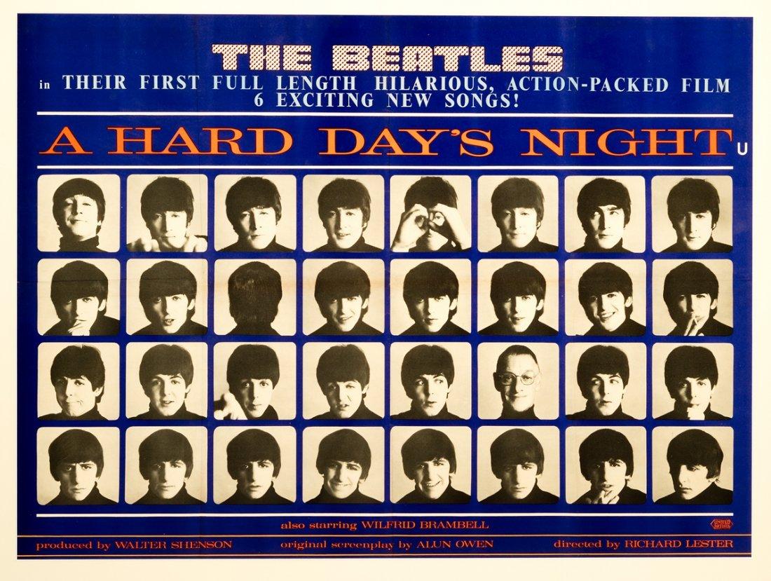 A Hard Day's Night original Beatles film poster