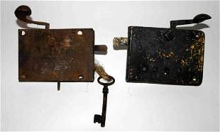 Two (2) Early Cast Grab Latch Door Latches (1) w/ Ke