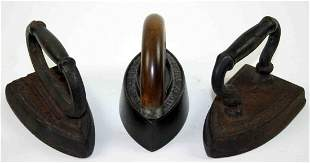 Three (3) Cast Flat Irons, One (1) Enterprise Mfg. C