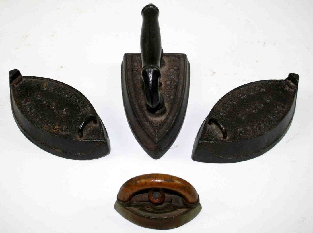 5: Grouping of Four (4) Cast Flat Irons, One (1) B & Co
