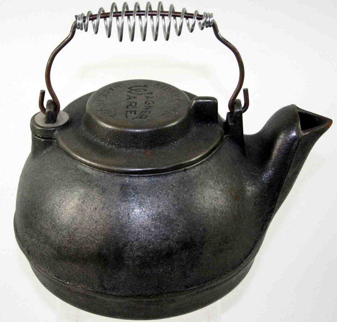 12: Cast Iron Tea Kettle, Stamped Wagner Ware Sidney Oh