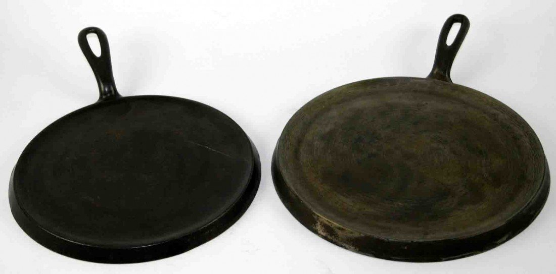 14: Two (2) Cast Iron Griddles,  Wagner Ware Sidney 0,