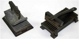 Two (2) Cast Iron Fluters, Each Having Ribbed Base,