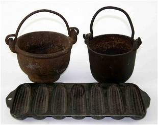 Grouping of Three (3) Cast Iron Pieces, Two (2) Lea