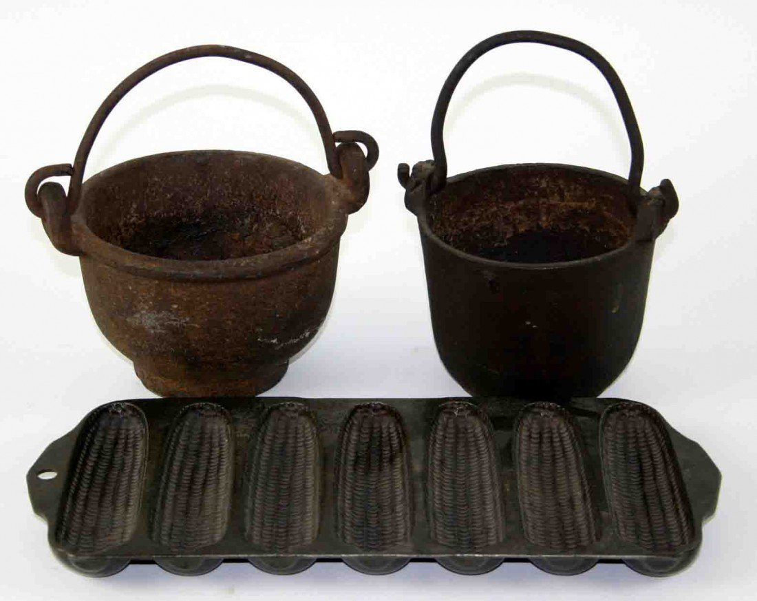 16: Grouping of Three (3) Cast Iron Pieces, Two (2) Lea