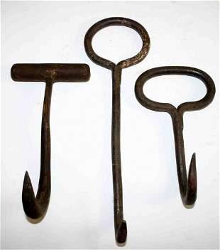 Three (3) Metal Ice and Bale Hooks, Solid Metal Han