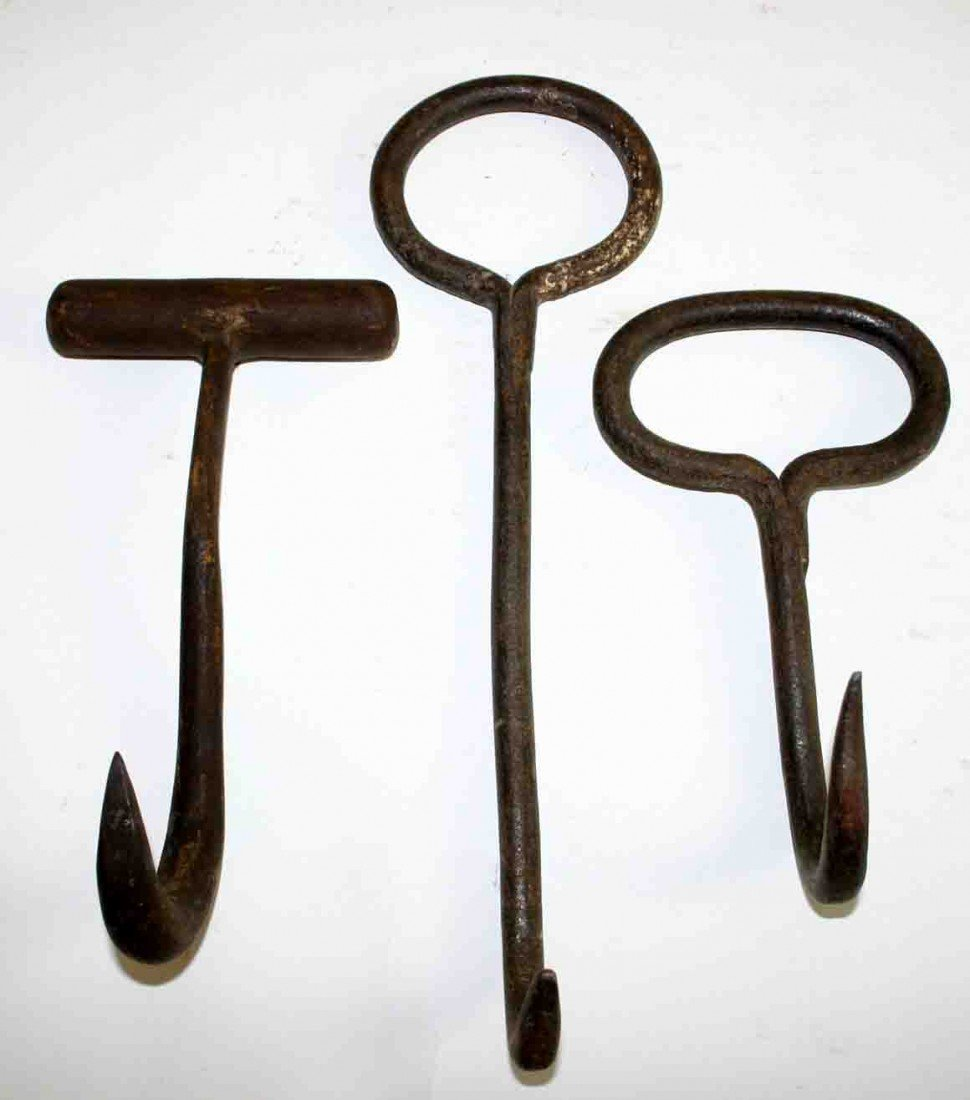 19: Three (3) Metal Ice and Bale Hooks, Solid Metal Han