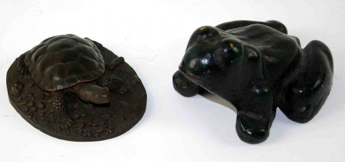 23: Two (2) Cast Metal Pieces, One (1) Iron Frog, Green