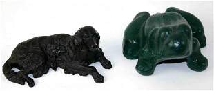 Two (2) Cast Metal Pieces, One (1) Iron Frog, Green