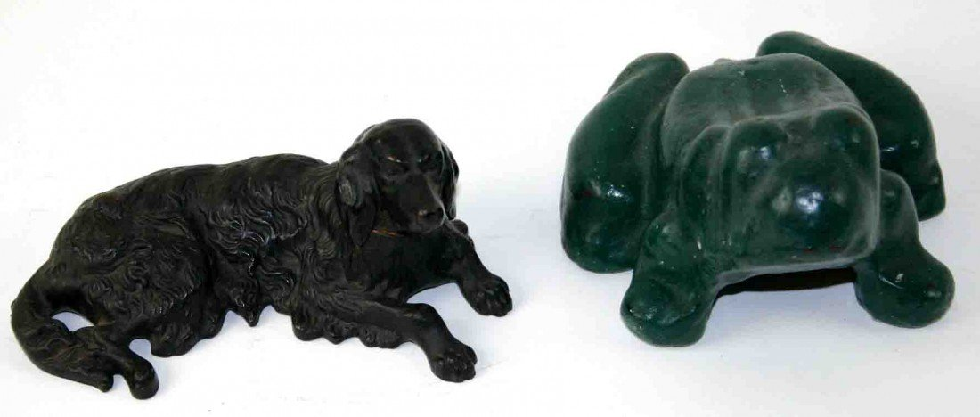 24: Two (2) Cast Metal Pieces, One (1) Iron Frog, Green