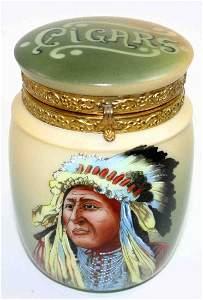 216: Nakara Tobacco Jar, Cigars Lettering, Hinged Lid,