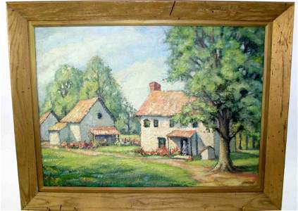 272: Impressionist Farm House Painting, Oil On Artist B