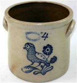 347: Four Gallon Stoneware Cobalt Decorated Crock, Stam