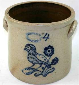 347: Four Gallon Stoneware Cobalt Decorated Crock, Stam
