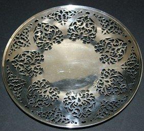 "4: Sterling weighted 9"" diameter circular lattice plate"