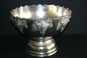 22: Elaborate grape and leaf silverplate punch bowl.  1
