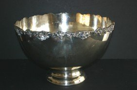 """23: Ornate grape clusters silverplate punch bowl.  16""""D"""