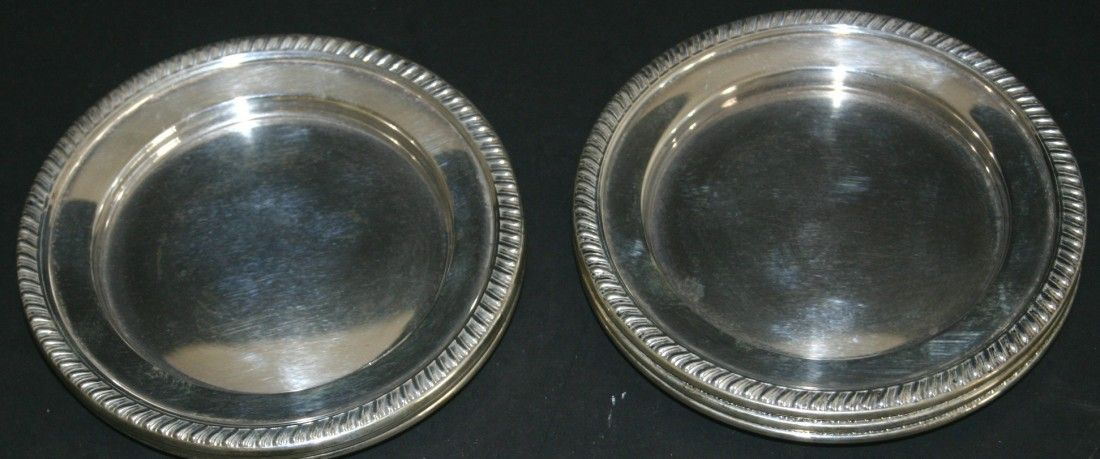 Six (6) Reed & Barton 205 Hawthorn sterling plates.