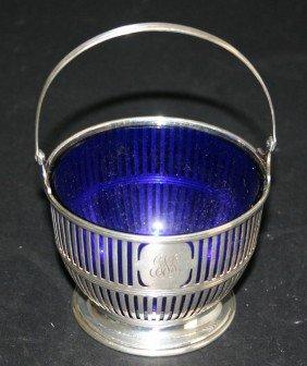Sterling Condiment Basket J24 With Cobalt Blue Glas
