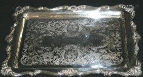 "Ornate Silverplate Tray.  14""L."
