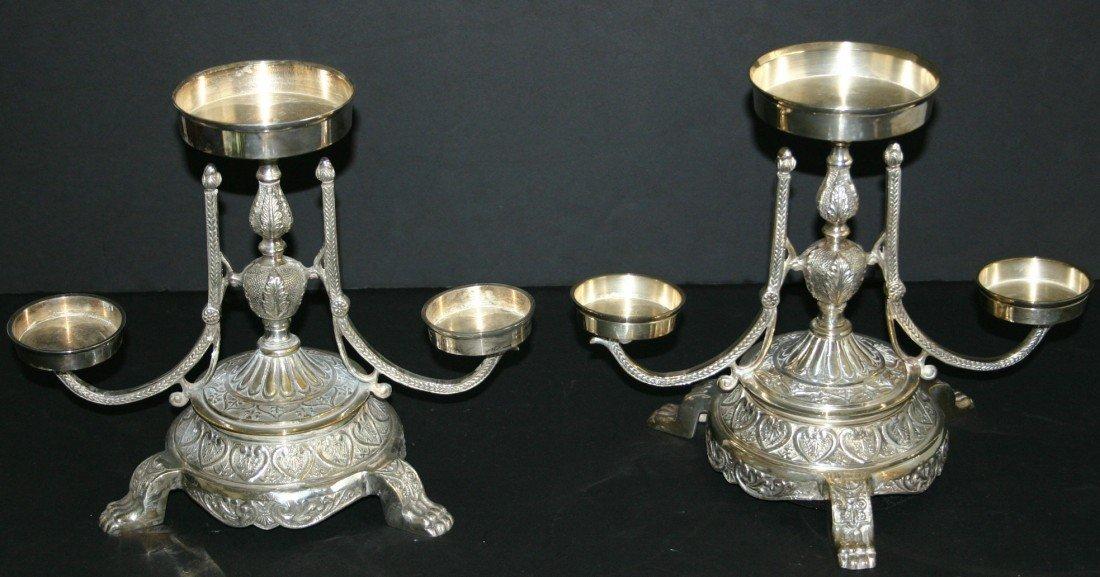 73: Ornate pair of Andrea by Sadek silverplate paw foot