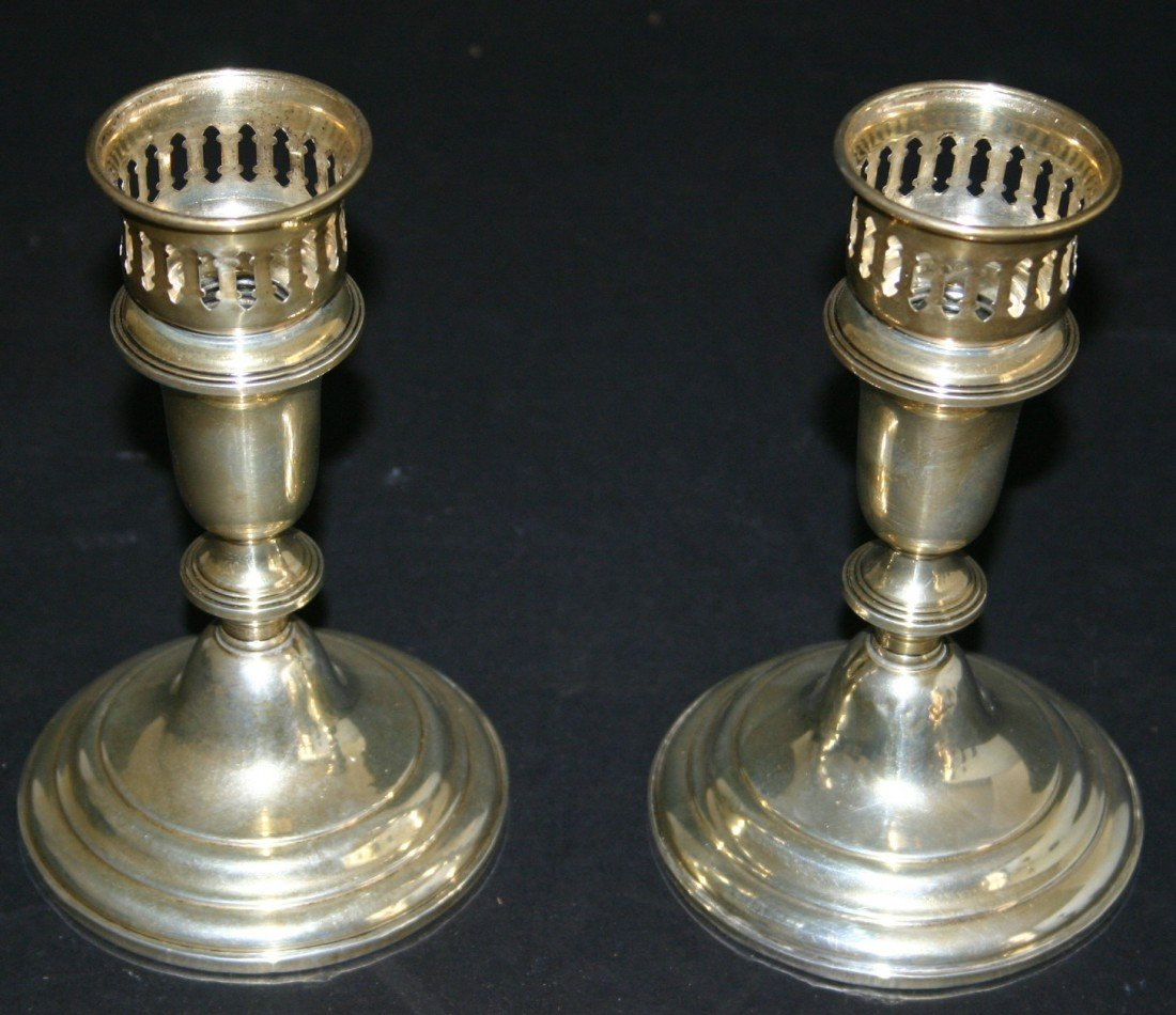 87: Pair of Empire sterling weighted 366 candlestick ho