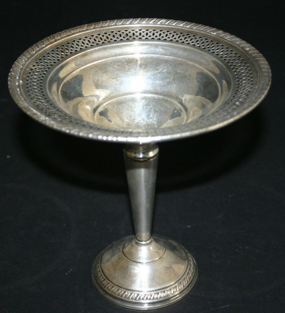 """91: Crown sterling weighted footed compote.  6 1/2""""H."""