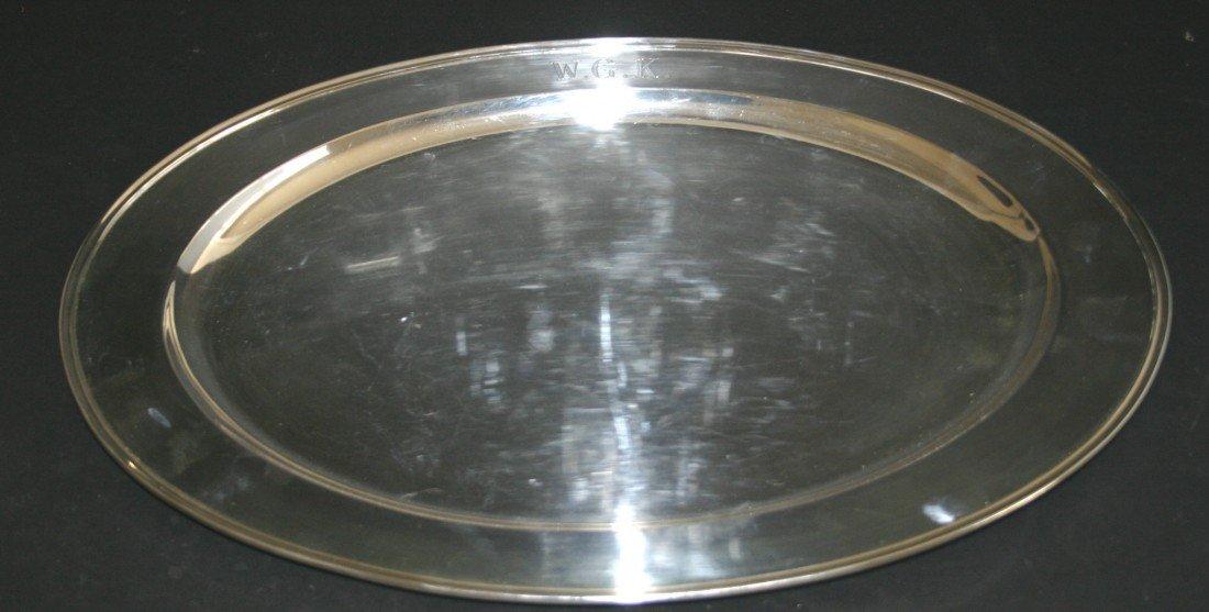 93: Sterling oval serving platter.  Presentation First