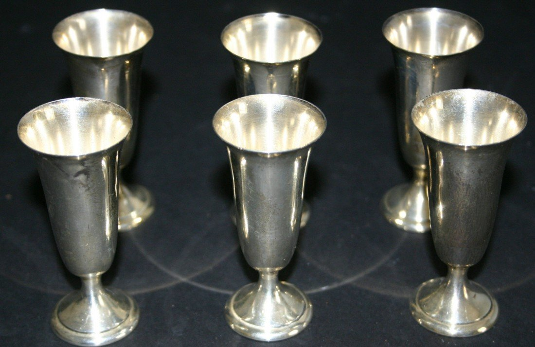 """94: Six (6) Alvin sterling S247 cordials.  3""""H.  12.2 g"""