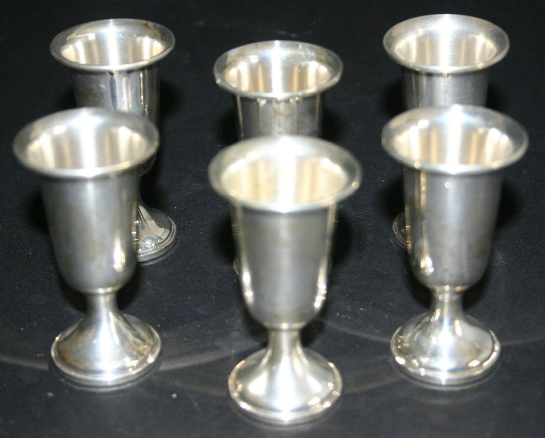 """96: Six (6) Towle sterling weighted cordials.  3""""H. 17."""