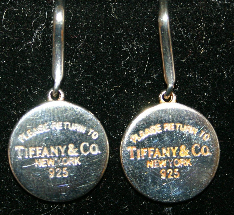 "384: Pair of sterling ""Please Return to Tiffany & Co. N"
