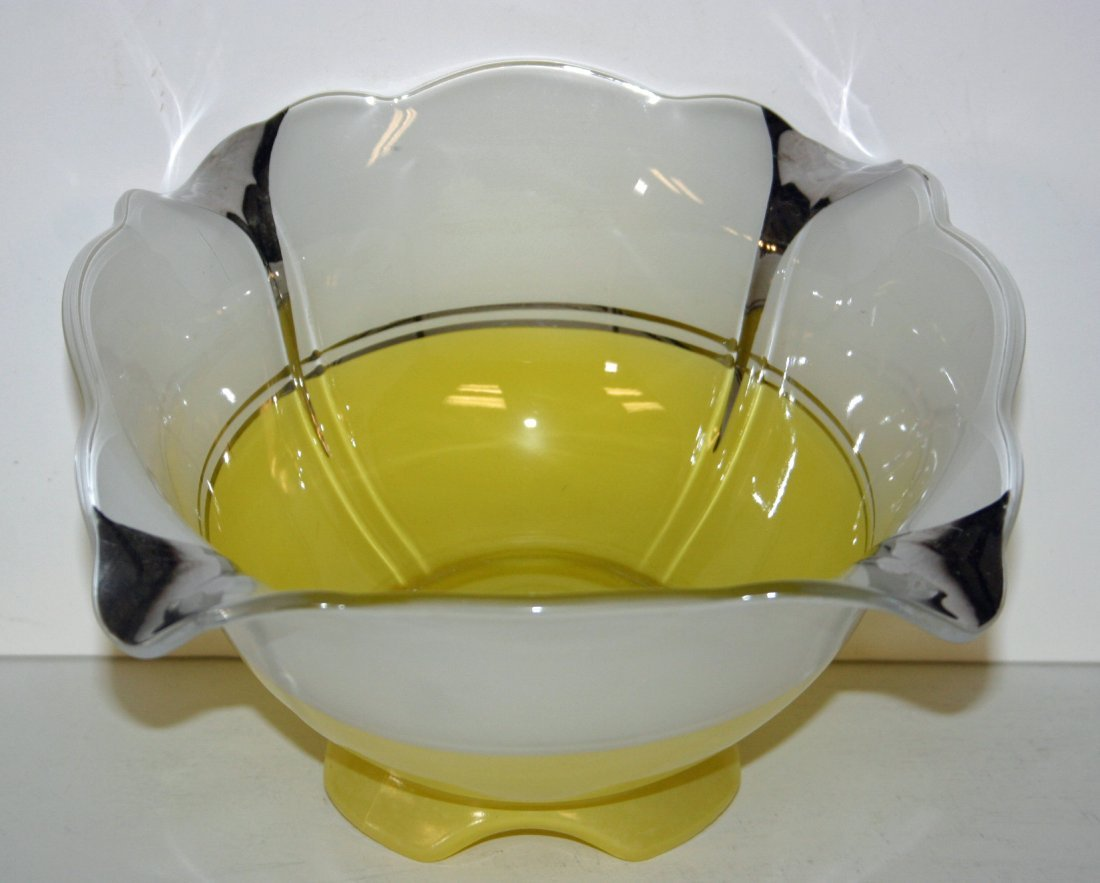 Yellow Tulip Bowl in Indiana Glass Moderne
