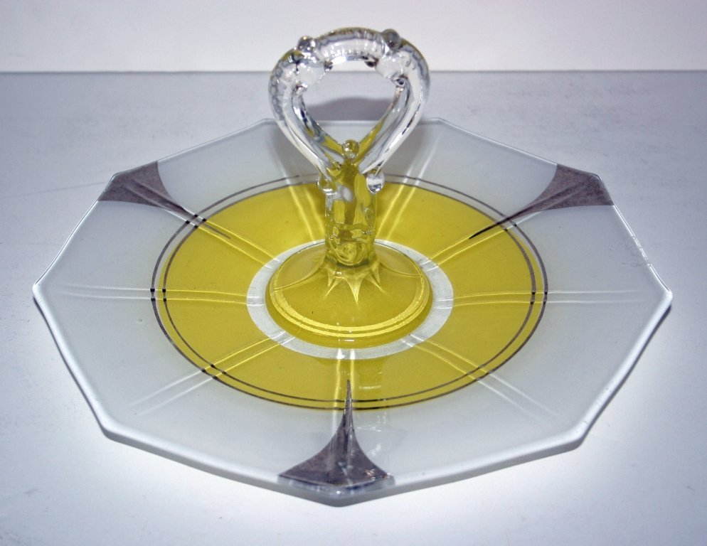 Yellow Canape Tray in Indian Glass Moderne