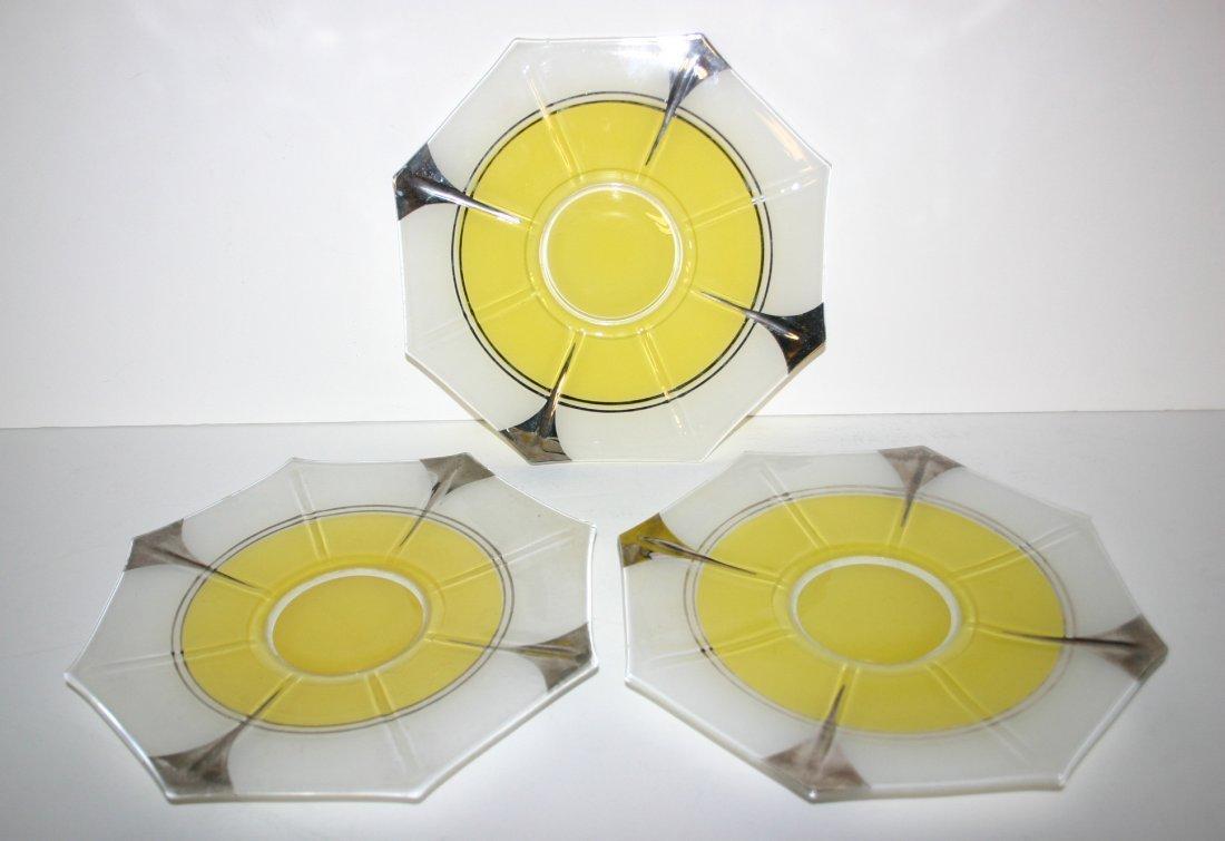 Three (3) Yellow Cake Plates in Indana Glass Moderne