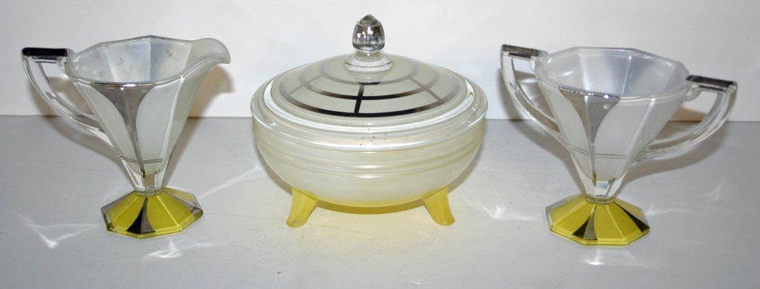 Yellow Candy Dish, Sugar and Creamer in Indana Glass