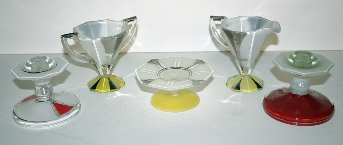 Yellow Small Centerpiece Bowl, Sugar and Creamer, Two