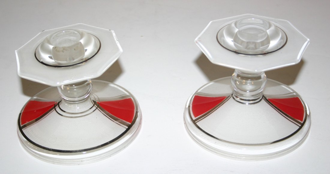 Pair of Red Candlesticks in Indiana Glass Moderne