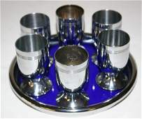 Chase Liqueur Set with Six (6) Cordials. Complete Set.