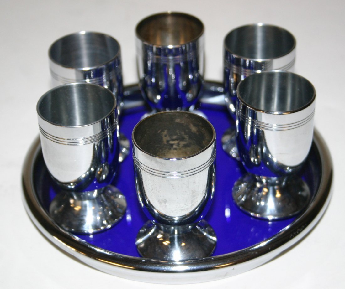 Chase Liqueur Set with Six (6) Cordials. Complete Set.