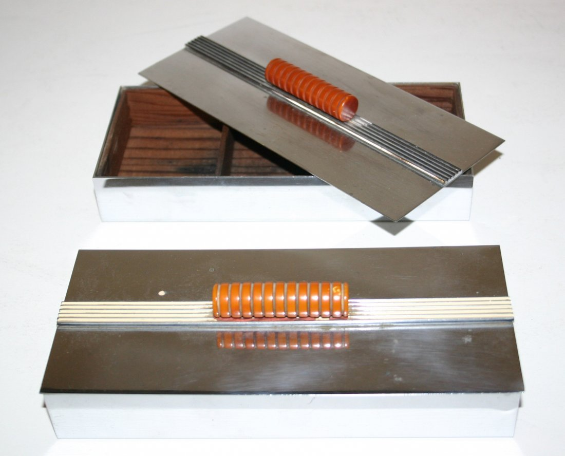 Chase Chrome Band Box Cigarette Holders with Bakelite
