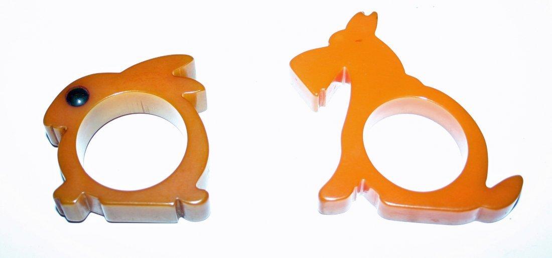 Bakelite Rabbit Napkin Ring, Bakelite Scottie Napkin