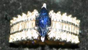 14k Yellow Gold Sapphire & Diamonds Ring.