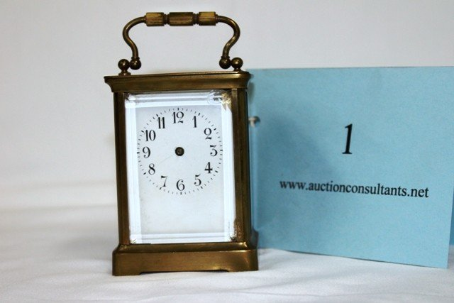 1: BRASS CARRIAGE CLOCK, MADE IN FRANCE, (NO HANDS), GO