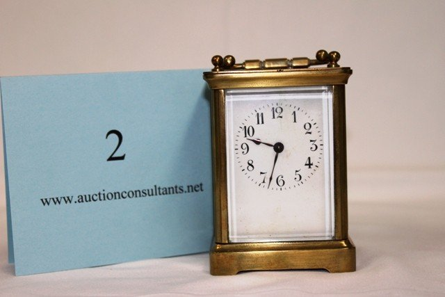 2: BRASS CARRIAGE CLOCK, MADE IN FRANCE, GOOD CONDITION