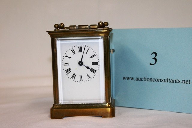 3: BRASS CARRIAGE CLOCK, MADE IN FRANCE, GOOD CONDITION