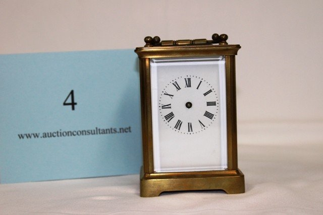 4: BRASS CARRIAGE CLOCK, GOOD CONDITION, 3 X 4.5 X 2.5I